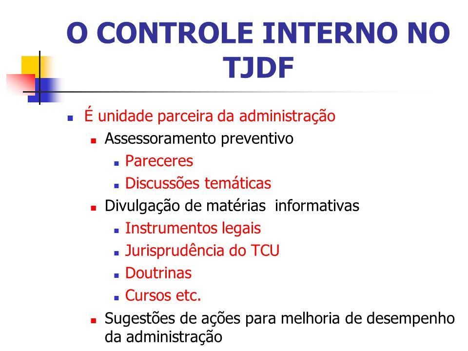O CONTROLE INTERNO NO TJDF É unidade parceira da administração Assessoramento preventivo Pareceres Discussões temáticas Divulgação de matérias informativas Instrumentos legais Jurisprudência do TCU Doutrinas Cursos etc.