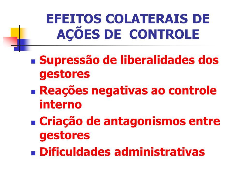 EFEITOS COLATERAIS DE AÇÕES DE CONTROLE Supressão de liberalidades dos gestores Reações negativas ao controle interno Criação de antagonismos entre ge