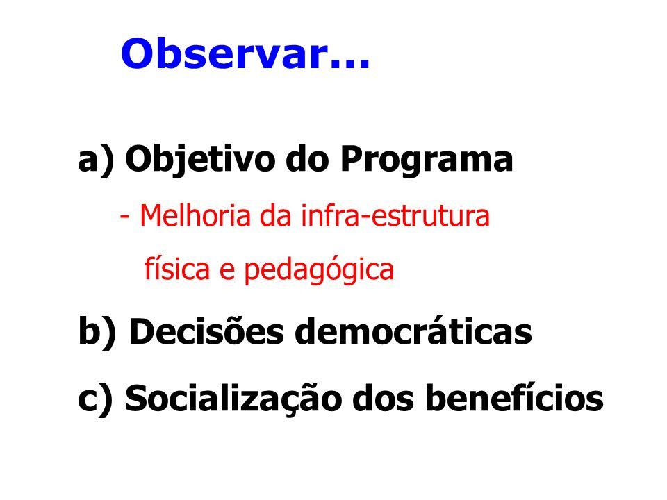 Observar... a) Objetivo do Programa - Melhoria da infra-estrutura física e pedagógica b) Decisões democráticas c) Socialização dos benefícios