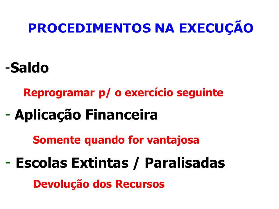PROCEDIMENTOS NA EXECUÇÃO -Saldo Reprogramar p/ o exercício seguinte - Aplicação Financeira Somente quando for vantajosa - Escolas Extintas / Paralisa