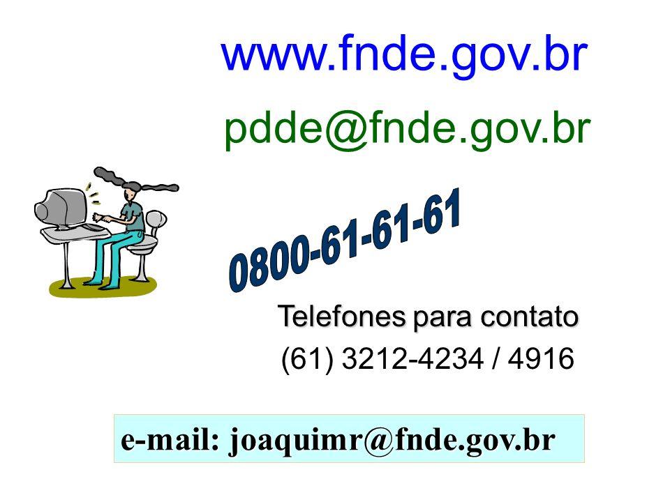 Telefones para contato (61) 3212-4234 / 4916 e-mail: joaquimr@fnde.gov.br www.fnde.gov.br pdde@fnde.gov.br