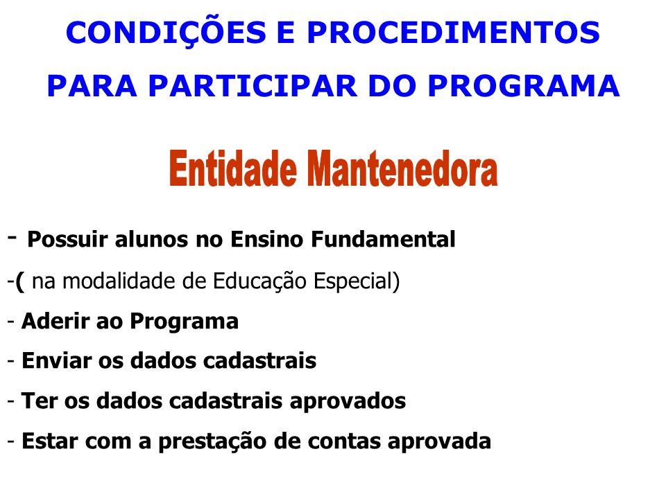 CONDIÇÕES E PROCEDIMENTOS PARA PARTICIPAR DO PROGRAMA - Possuir alunos no Ensino Fundamental -( na modalidade de Educação Especial) - Aderir ao Progra