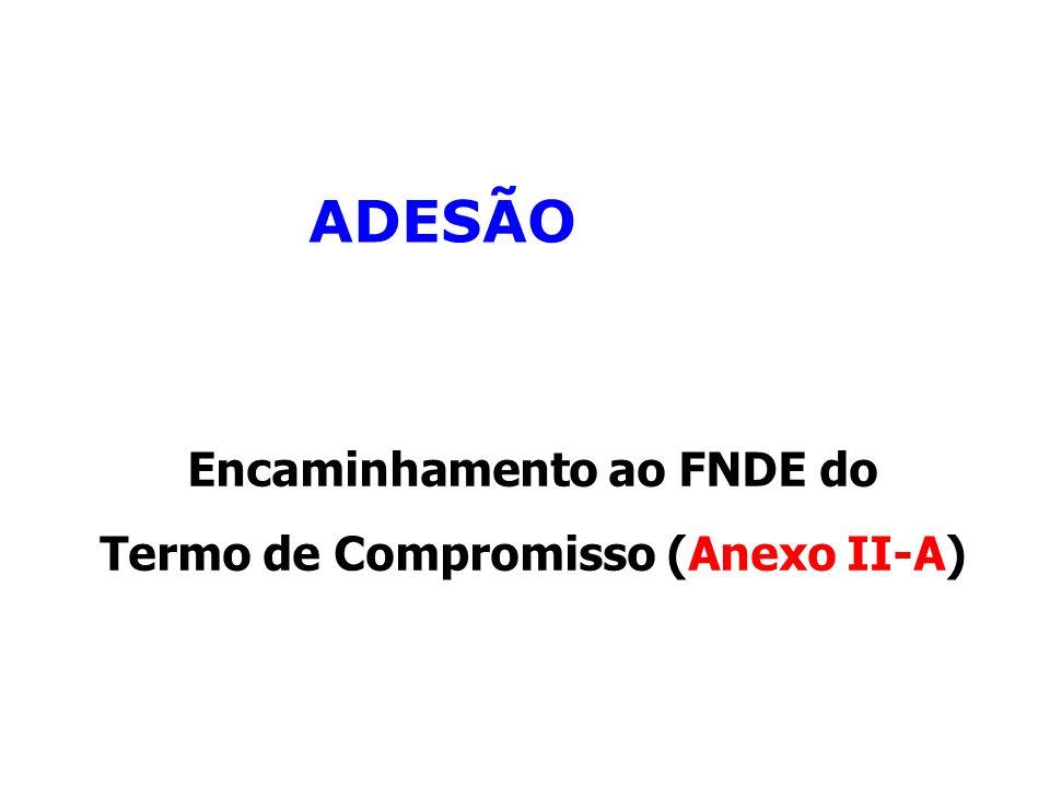 ADESÃO Encaminhamento ao FNDE do Termo de Compromisso (Anexo II-A)