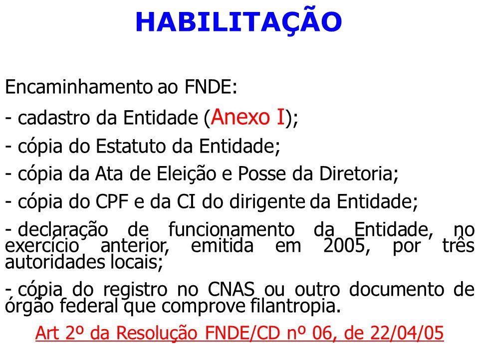 HABILITAÇÃO Encaminhamento ao FNDE: - cadastro da Entidade ( Anexo I ); - cópia do Estatuto da Entidade; - cópia da Ata de Eleição e Posse da Diretori