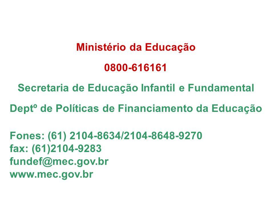 Ministério da Educação 0800-616161 Secretaria de Educação Infantil e Fundamental Deptº de Políticas de Financiamento da Educação Fones: (61) 2104-8634/2104-8648-9270 fax: (61)2104-9283 fundef@mec.gov.br www.mec.gov.br