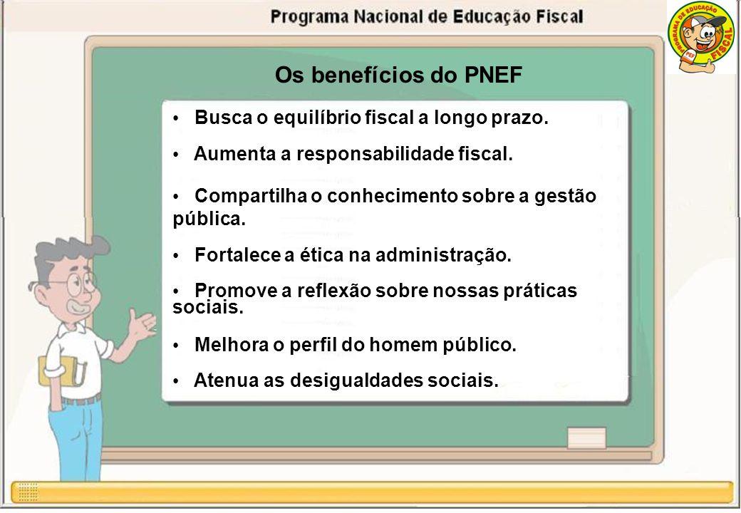 Os benefícios do PNEF Busca o equilíbrio fiscal a longo prazo.