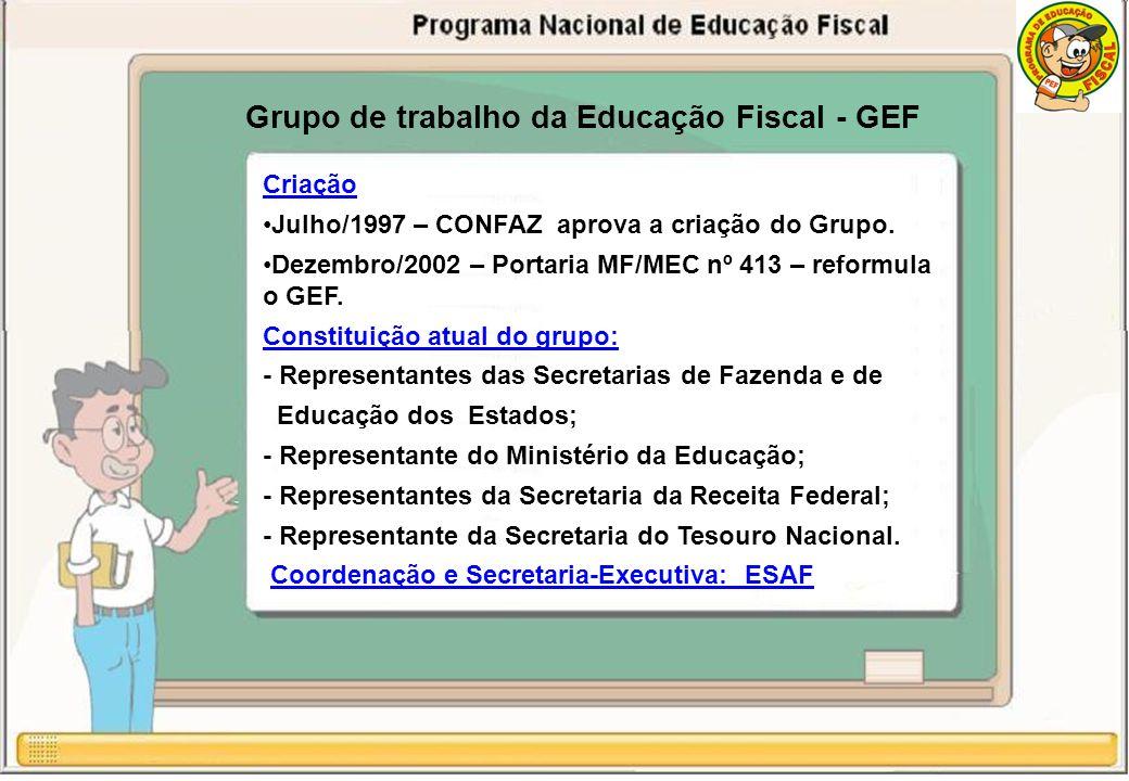 Grupo de trabalho da Educação Fiscal - GEF Criação Julho/1997 – CONFAZ aprova a criação do Grupo.