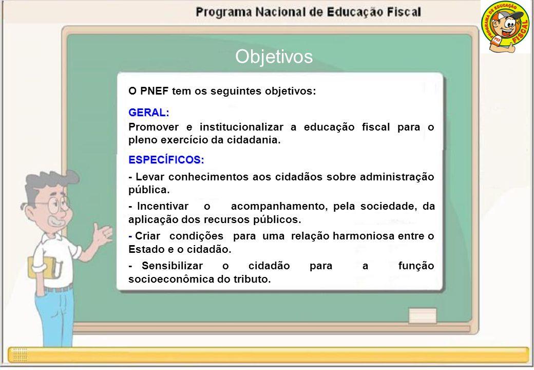 O PNEF tem os seguintes objetivos:GERAL: Promover e institucionalizar a educação fiscal para o pleno exercício da cidadania.ESPECÍFICOS: - Levar conhecimentos aos cidadãos sobre administração pública.