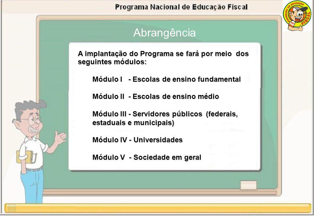 A implantação do Programa se fará por meio dos seguintes módulos: Módulo I - Escolas de ensino fundamental Módulo II - Escolas de ensino médio Módulo III - Servidores públicos (federais, estaduais e municipais) Módulo IV - Universidades Módulo V - Sociedade em geral Abrangência