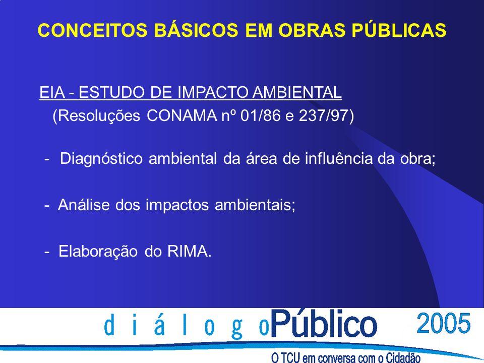 CONCEITOS BÁSICOS EM OBRAS PÚBLICAS EIA - ESTUDO DE IMPACTO AMBIENTAL (Resoluções CONAMA nº 01/86 e 237/97) - Diagnóstico ambiental da área de influên