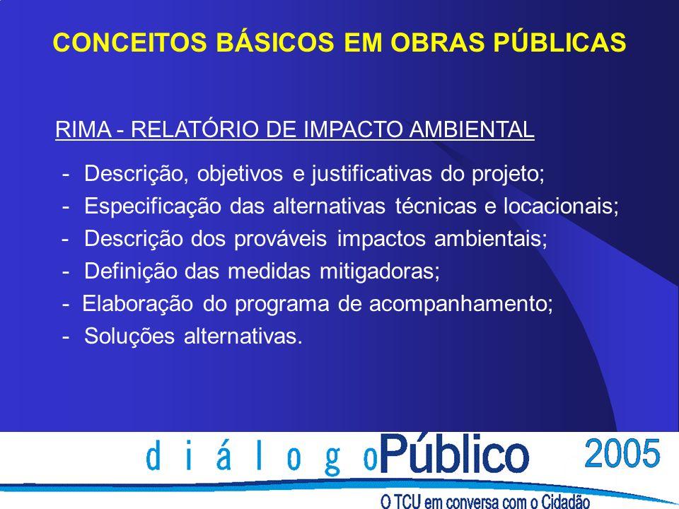 CONCEITOS BÁSICOS EM OBRAS PÚBLICAS RIMA - RELATÓRIO DE IMPACTO AMBIENTAL - Descrição, objetivos e justificativas do projeto; - Especificação das alte
