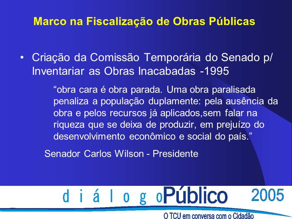 Marco na Fiscalização de Obras Públicas Criação da Comissão Temporária do Senado p/ Inventariar as Obras Inacabadas -1995 obra cara é obra parada. Uma