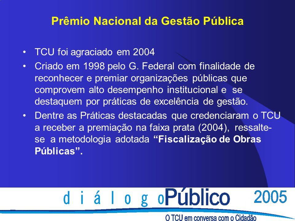 TCU foi agraciado em 2004 Criado em 1998 pelo G. Federal com finalidade de reconhecer e premiar organizações públicas que comprovem alto desempenho in