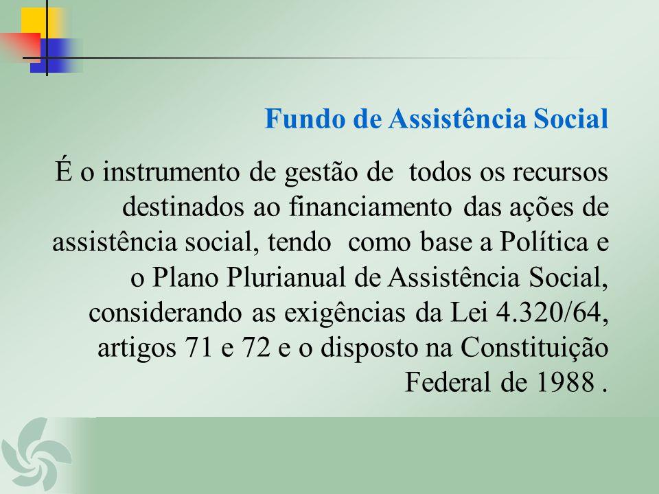 Fundo de Assistência Social É o instrumento de gestão de todos os recursos destinados ao financiamento das ações de assistência social, tendo como bas