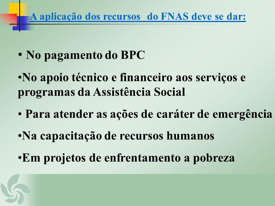 A aplicação dos recursos do FNAS deve se dar: No pagamento do BPC No apoio técnico e financeiro aos serviços e programas da Assistência Social Para at