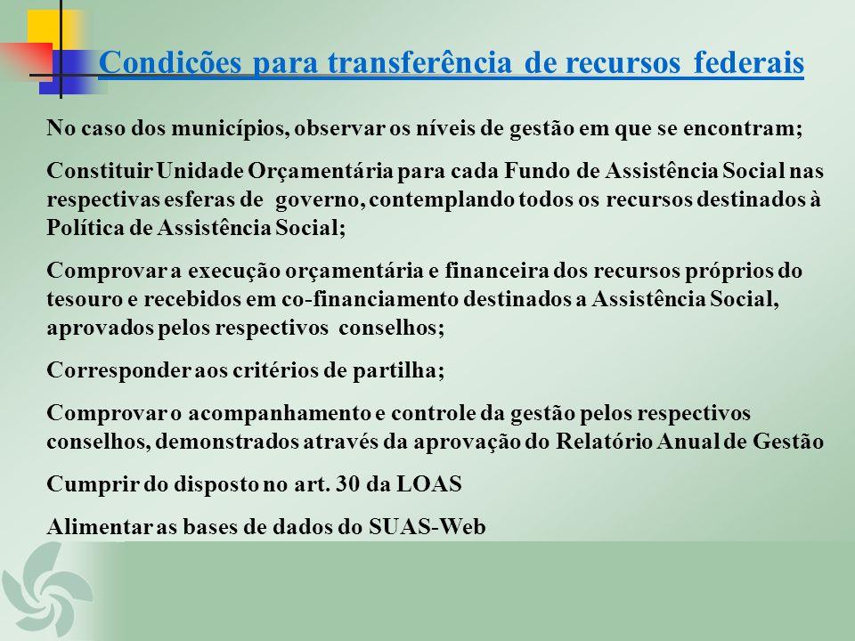 Condições para transferência de recursos federais No caso dos municípios, observar os níveis de gestão em que se encontram; Constituir Unidade Orçamen