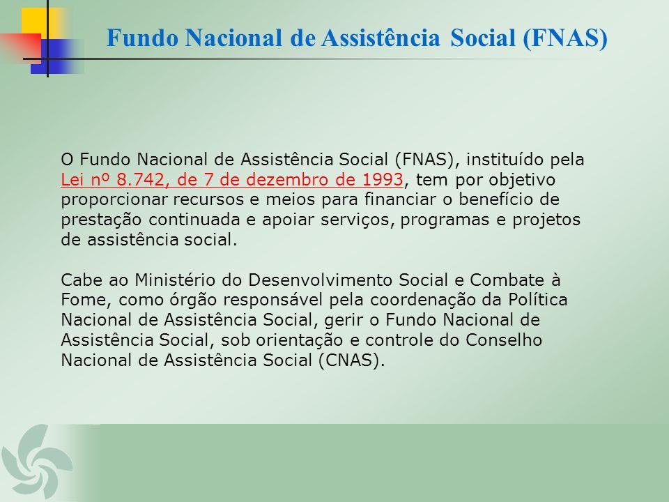 O Fundo Nacional de Assistência Social (FNAS), instituído pela Lei nº 8.742, de 7 de dezembro de 1993, tem por objetivo proporcionar recursos e meios