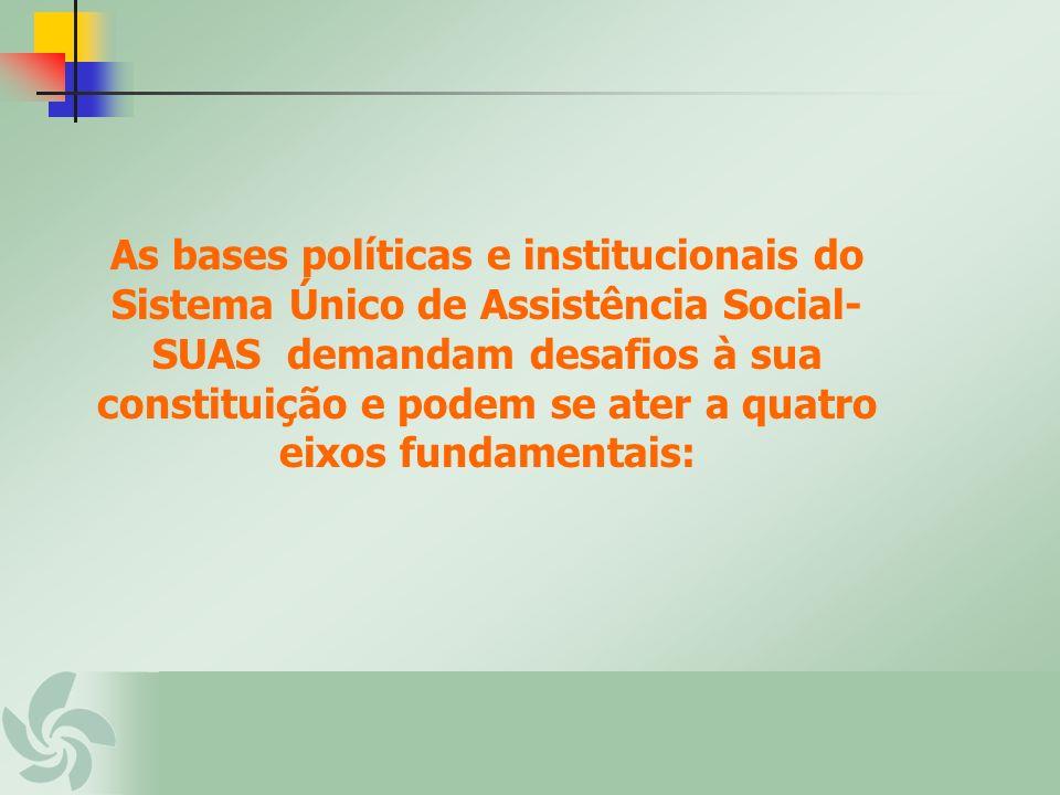 As bases políticas e institucionais do Sistema Único de Assistência Social- SUAS demandam desafios à sua constituição e podem se ater a quatro eixos f
