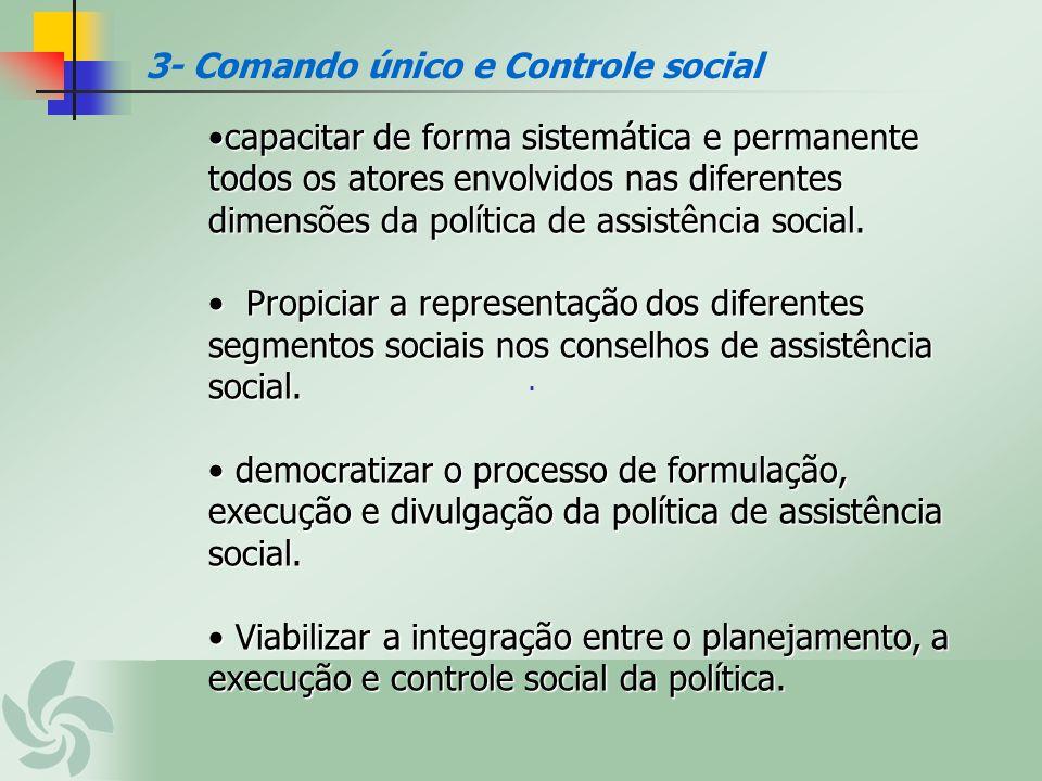 . 3- Comando único e Controle social capacitar de forma sistemática e permanente todos os atores envolvidos nas diferentes dimensões da política de as