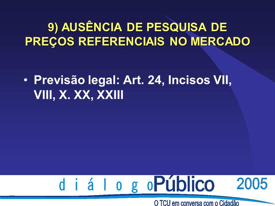 9) AUSÊNCIA DE PESQUISA DE PREÇOS REFERENCIAIS NO MERCADO Previsão legal: Art.