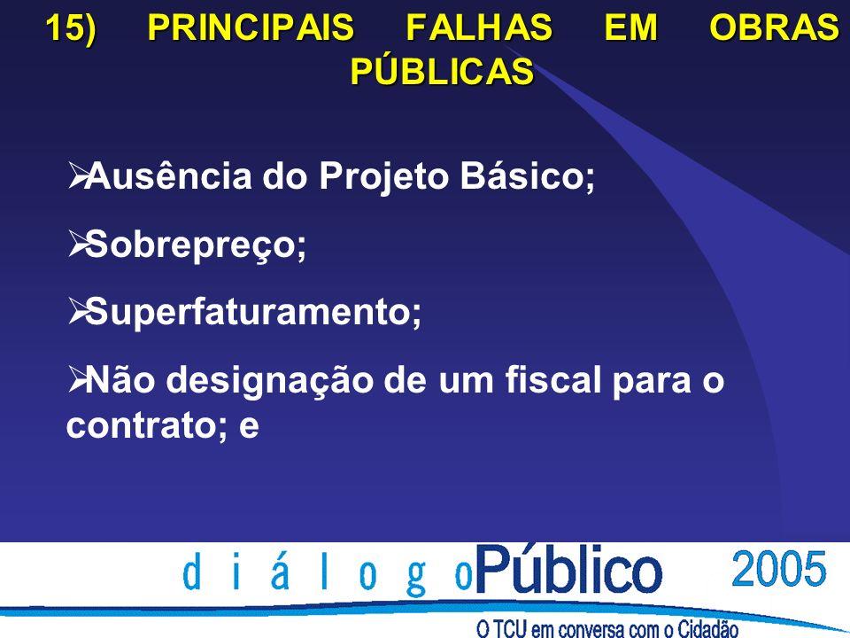 15) PRINCIPAIS FALHAS EM OBRAS PÚBLICAS Ausência do Projeto Básico; Sobrepreço; Superfaturamento; Não designação de um fiscal para o contrato; e
