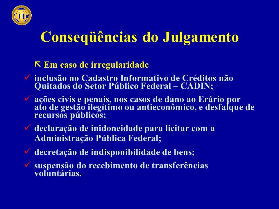 Conseqüências do Julgamento Em caso de irregularidade inclusão no Cadastro Informativo de Créditos não Quitados do Setor Público Federal – CADIN; açõe