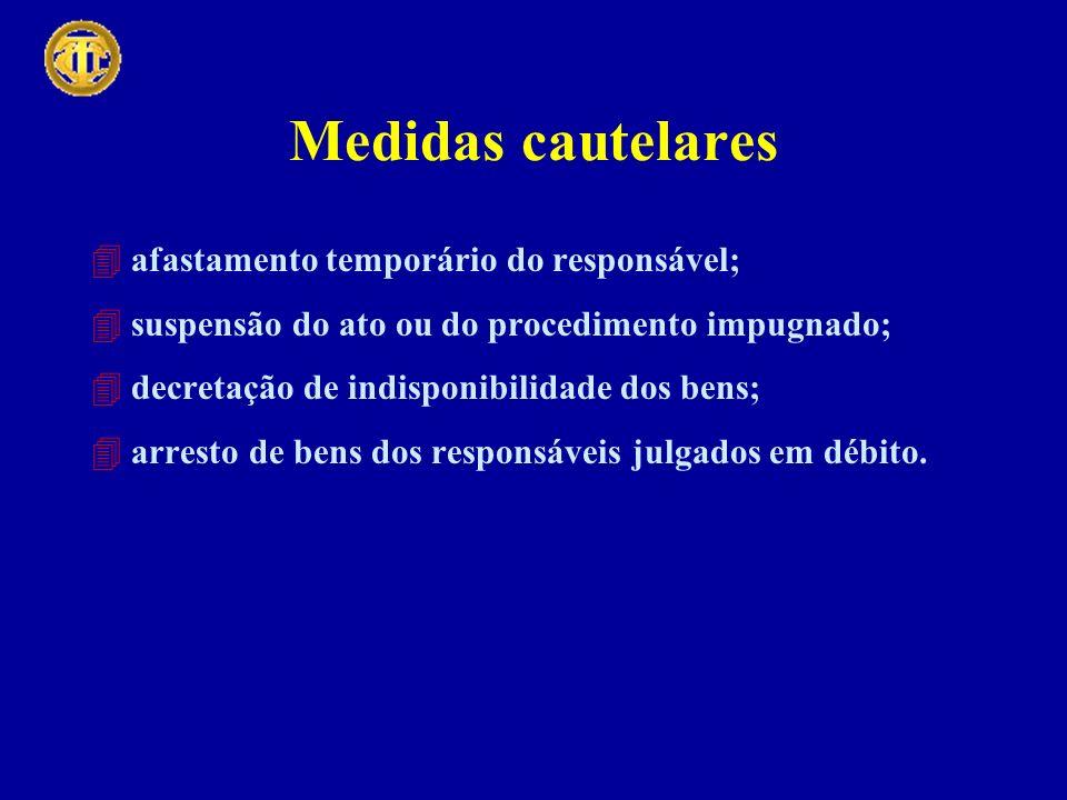 Medidas cautelares 4afastamento temporário do responsável; 4suspensão do ato ou do procedimento impugnado; 4decretação de indisponibilidade dos bens; 4arresto de bens dos responsáveis julgados em débito.