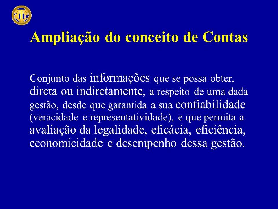 Ampliação do conceito de Contas Conjunto das informações que se possa obter, direta ou indiretamente, a respeito de uma dada gestão, desde que garanti