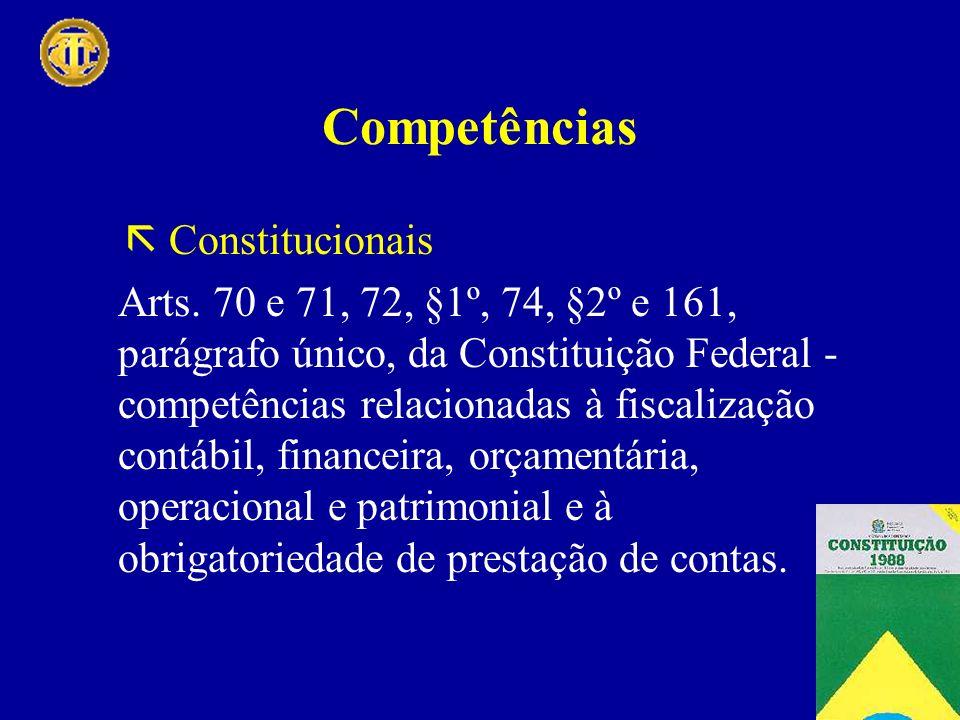 Competências Constitucionais Arts. 70 e 71, 72, §1º, 74, §2º e 161, parágrafo único, da Constituição Federal - competências relacionadas à fiscalizaçã