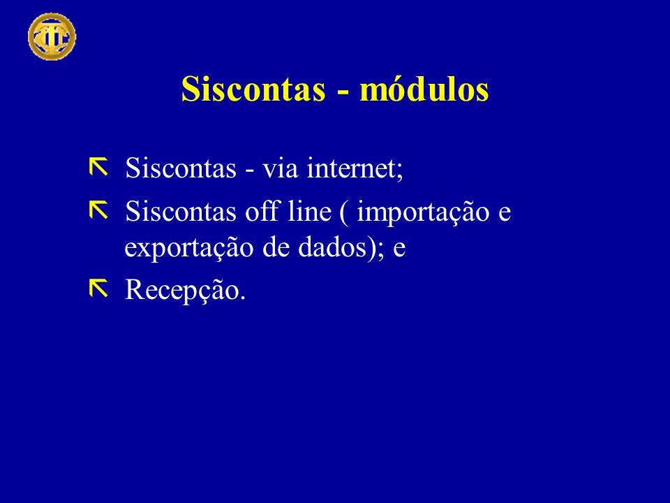 Siscontas - módulos Siscontas - via internet; Siscontas off line ( importação e exportação de dados); e Recepção.
