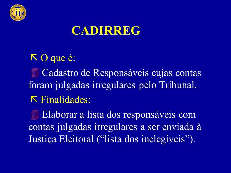 O que é: Cadastro de Responsáveis cujas contas foram julgadas irregulares pelo Tribunal. Finalidades: Elaborar a lista dos responsáveis com contas jul