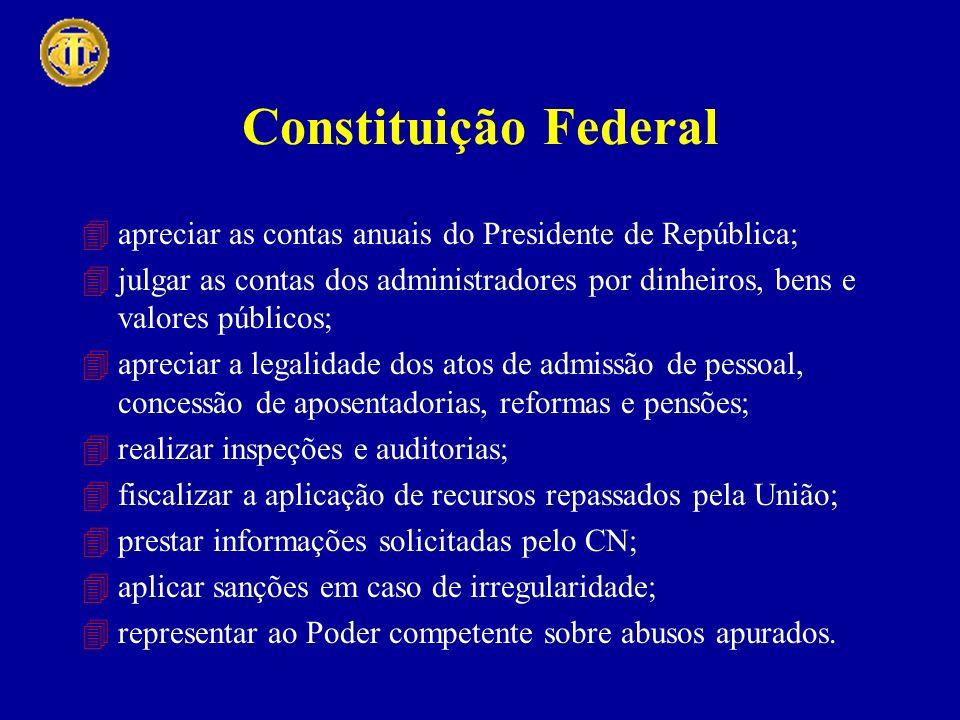 Constituição Federal 4apreciar as contas anuais do Presidente de República; 4julgar as contas dos administradores por dinheiros, bens e valores públic