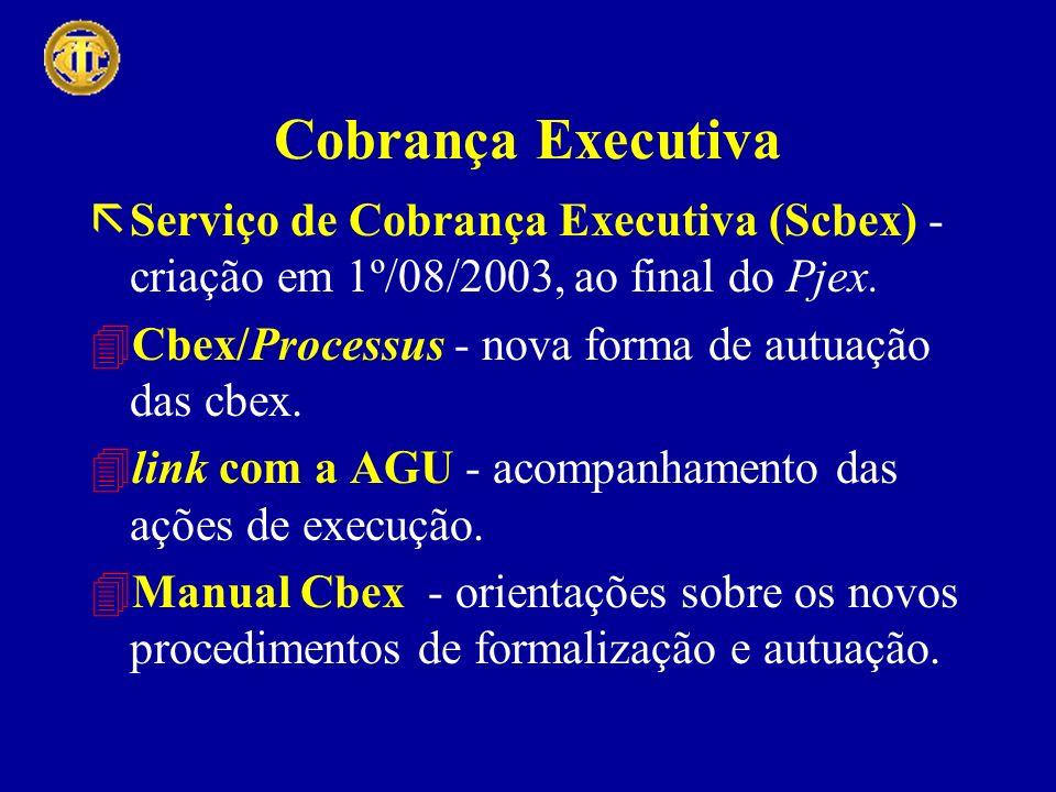 Cobrança Executiva ãServiço de Cobrança Executiva (Scbex) - criação em 1º/08/2003, ao final do Pjex. 4Cbex/Processus - nova forma de autuação das cbex