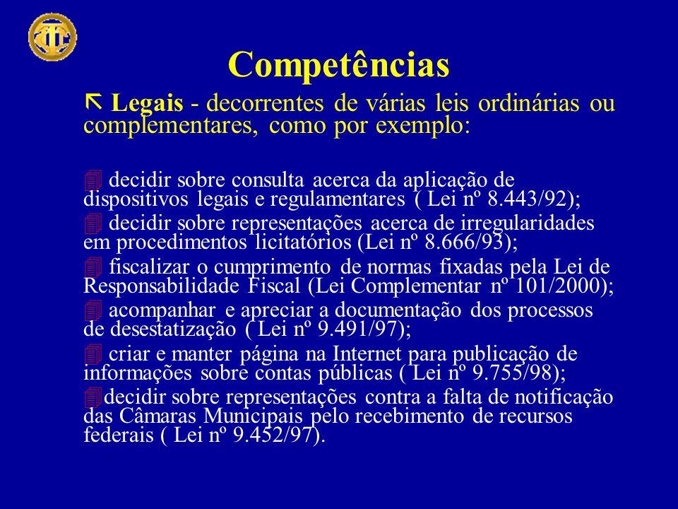 Competências Legais - decorrentes de várias leis ordinárias ou complementares, como por exemplo: decidir sobre consulta acerca da aplicação de dispositivos legais e regulamentares ( Lei nº 8.443/92); decidir sobre representações acerca de irregularidades em procedimentos licitatórios (Lei nº 8.666/93); fiscalizar o cumprimento de normas fixadas pela Lei de Responsabilidade Fiscal (Lei Complementar nº 101/2000); acompanhar e apreciar a documentação dos processos de desestatização ( Lei nº 9.491/97); criar e manter página na Internet para publicação de informações sobre contas públicas ( Lei nº 9.755/98); decidir sobre representações contra a falta de notificação das Câmaras Municipais pelo recebimento de recursos federais ( Lei nº 9.452/97).