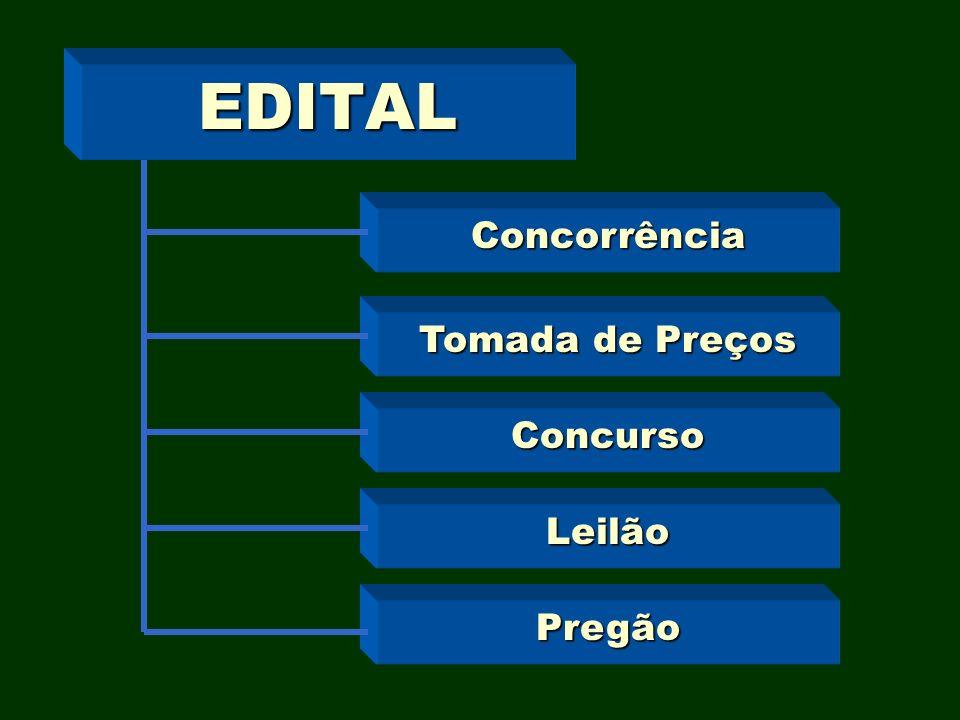 EDITAL Concorrência Tomada de Preços Concurso Leilão Pregão