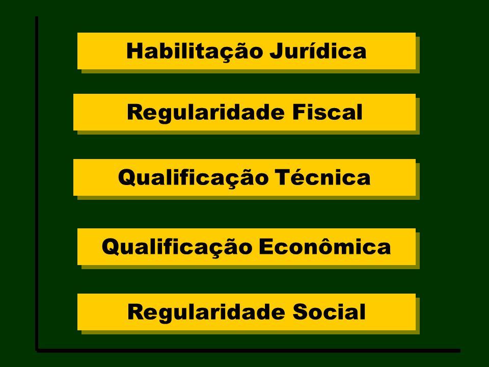 Habilitação Jurídica Regularidade Fiscal Qualificação Técnica Qualificação Econômica Regularidade Social