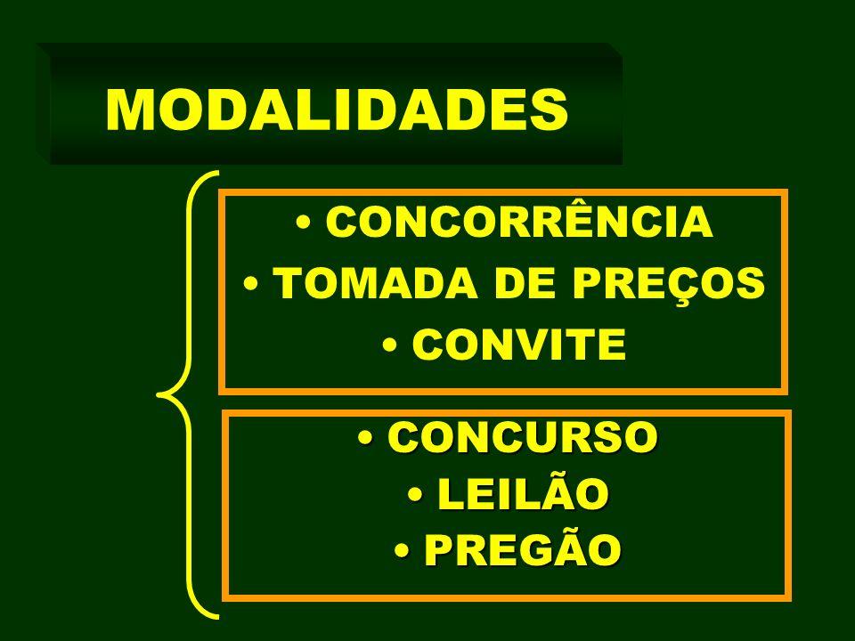 MODALIDADES CONCORRÊNCIA TOMADA DE PREÇOS CONVITE CONCURSOCONCURSO LEILÃOLEILÃO PREGÃOPREGÃO