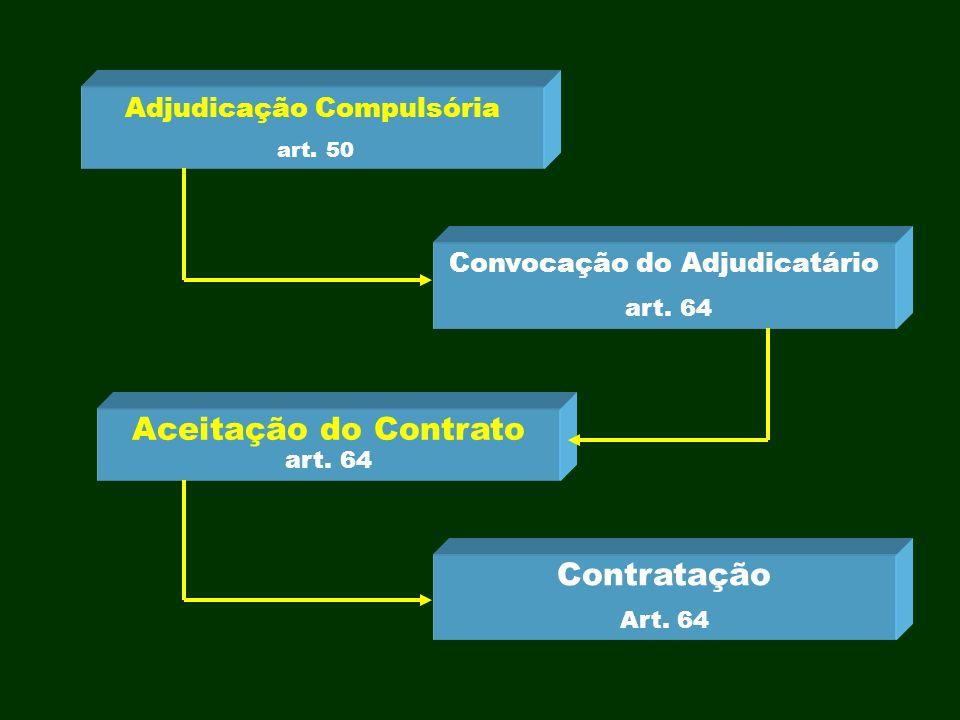 Adjudicação Compulsória art. 50 Convocação do Adjudicatário art. 64 Aceitação do Contrato art. 64 Contratação Art. 64