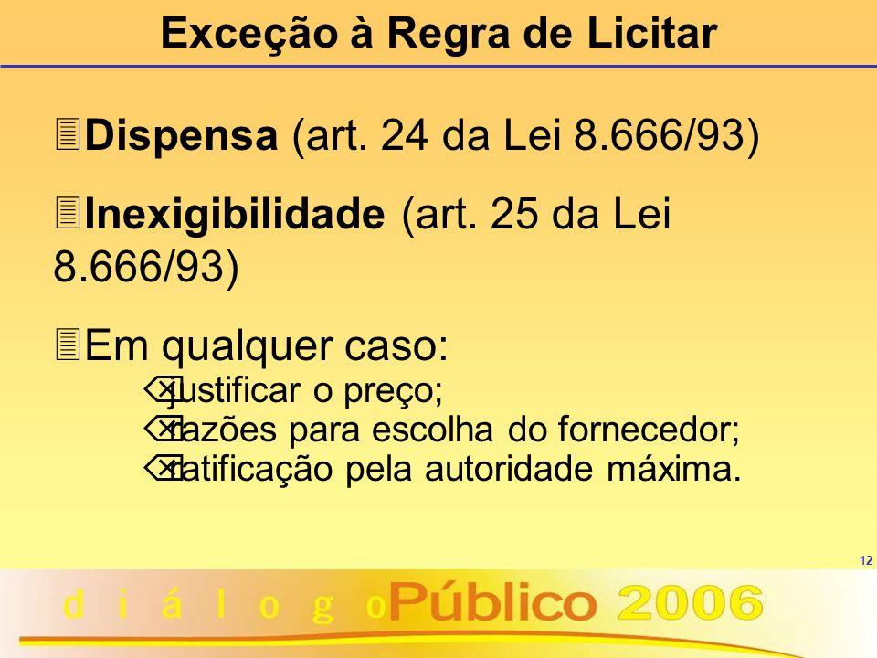12 3Dispensa (art. 24 da Lei 8.666/93) 3Inexigibilidade (art. 25 da Lei 8.666/93) 3Em qualquer caso: Õ justificar o preço; Õ razões para escolha do fo