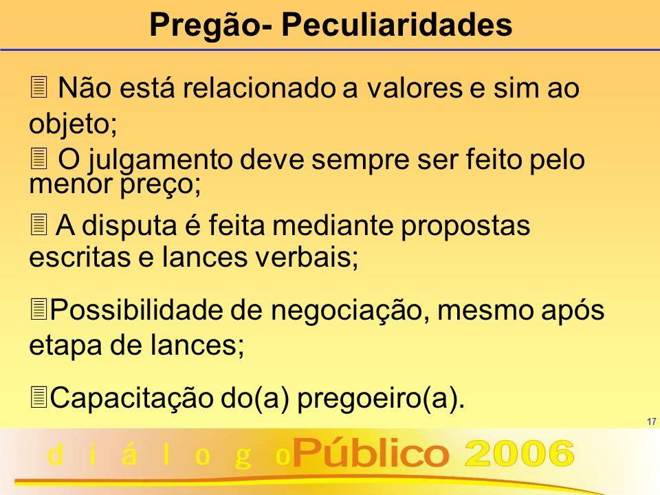 17 3 Não está relacionado a valores e sim ao objeto; 3 O julgamento deve sempre ser feito pelo menor preço; 3 A disputa é feita mediante propostas esc