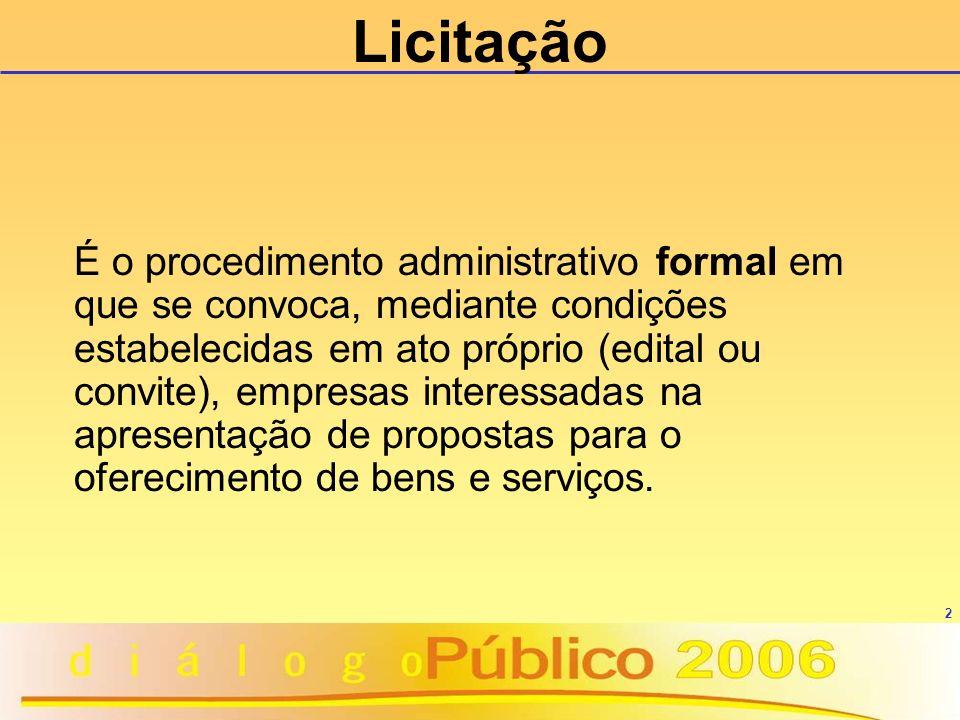 2 É o procedimento administrativo formal em que se convoca, mediante condições estabelecidas em ato próprio (edital ou convite), empresas interessadas