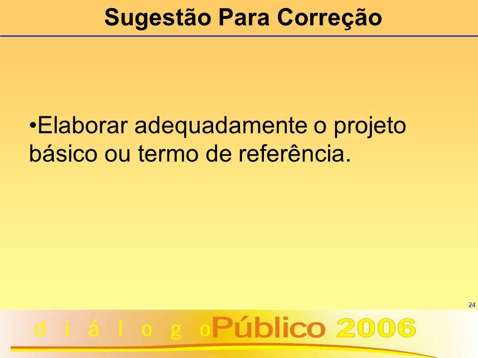 24 Sugestão Para Correção Elaborar adequadamente o projeto básico ou termo de referência.