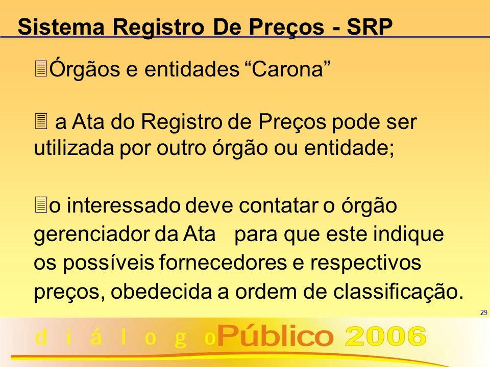 29 3Órgãos e entidades Carona 3 a Ata do Registro de Preços pode ser utilizada por outro órgão ou entidade; 3o interessado deve contatar o órgão geren