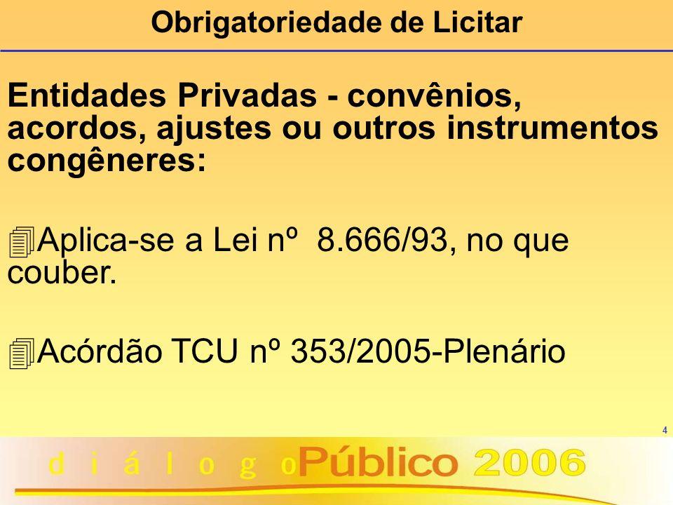 4 Entidades Privadas - convênios, acordos, ajustes ou outros instrumentos congêneres: 4 Aplica-se a Lei nº 8.666/93, no que couber. 4 Acórdão TCU nº 3