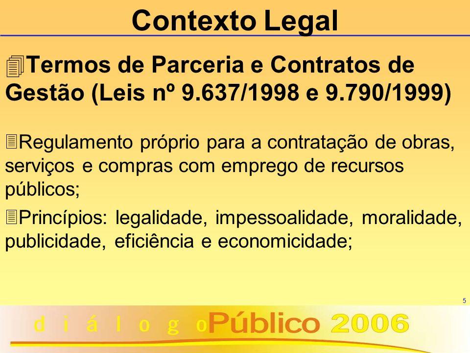 5 Contexto Legal 4Termos de Parceria e Contratos de Gestão (Leis nº 9.637/1998 e 9.790/1999) 3Regulamento próprio para a contratação de obras, serviço