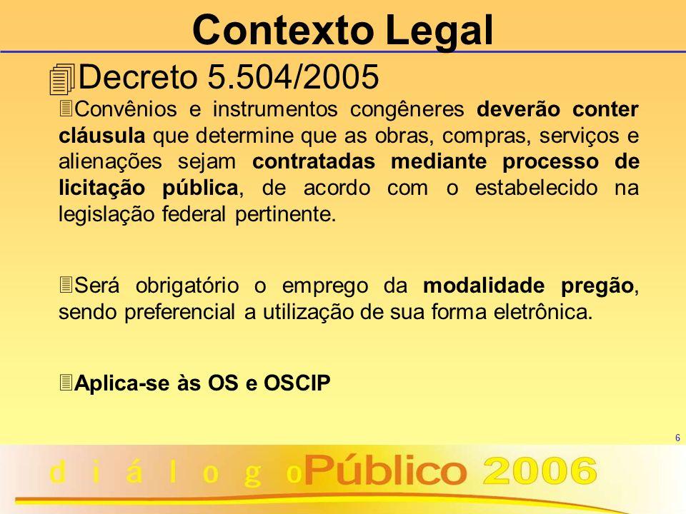 7 Entendimento TCU Acórdão 1.777/2005 Oscips se submetem ao Regulamento Próprio de contratação de obras e serviços, bem como para as compras, nos termos do art.