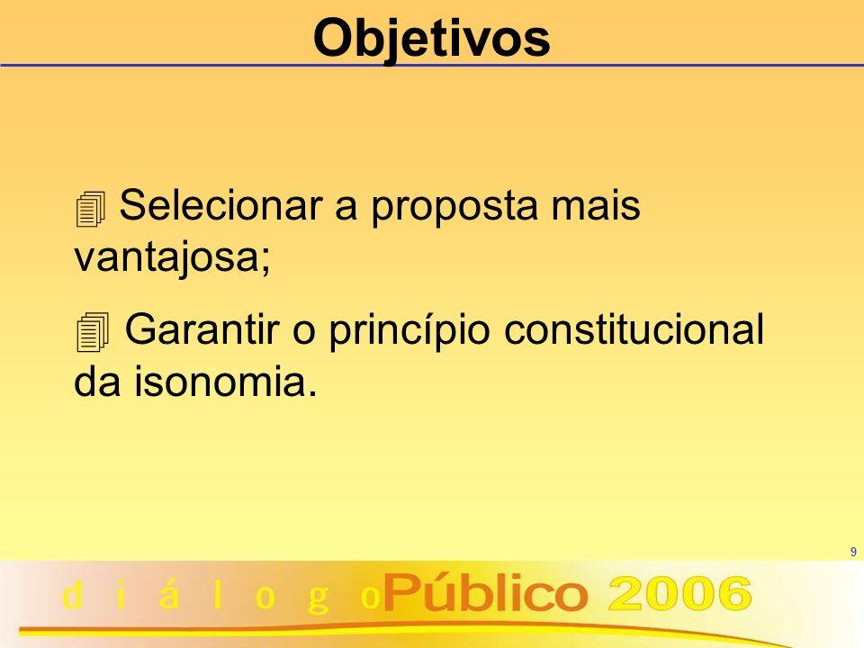 9 4 Selecionar a proposta mais vantajosa; 4 Garantir o princípio constitucional da isonomia. Objetivos