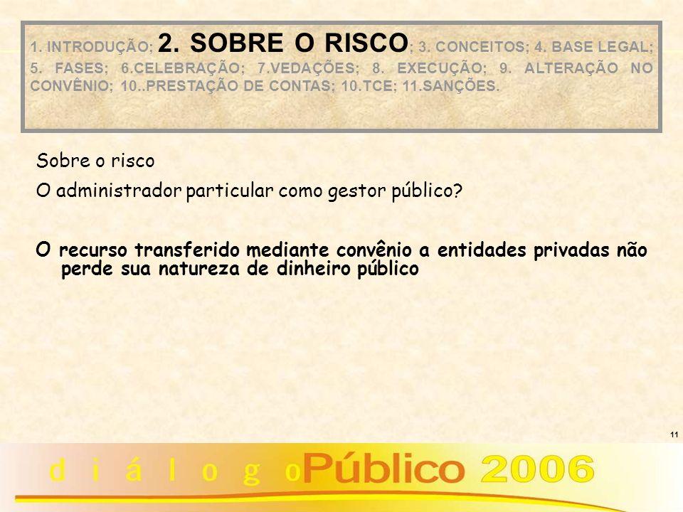 11 Sobre o risco O administrador particular como gestor público? O recurso transferido mediante convênio a entidades privadas não perde sua natureza d