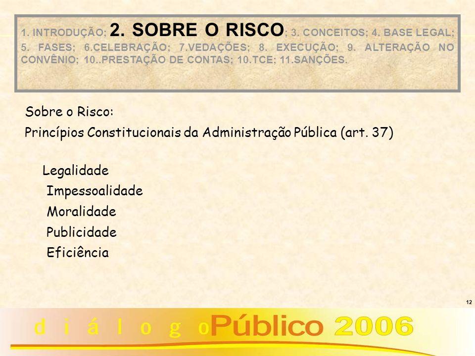 12 Sobre o Risco: Princípios Constitucionais da Administração Pública (art. 37) Legalidade Impessoalidade Moralidade Publicidade Eficiência 1. INTRODU