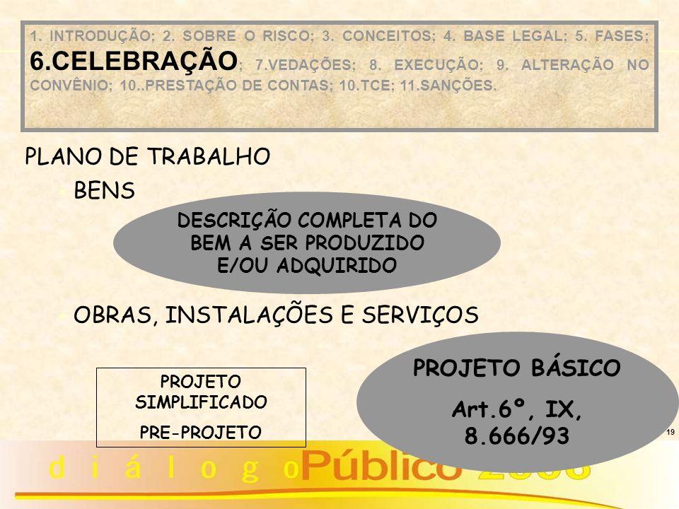 19 DESCRIÇÃO COMPLETA DO BEM A SER PRODUZIDO E/OU ADQUIRIDO PROJETO BÁSICO Art.6º, IX, 8.666/93 PLANO DE TRABALHO BENS OBRAS, INSTALAÇÕES E SERVIÇOS 1